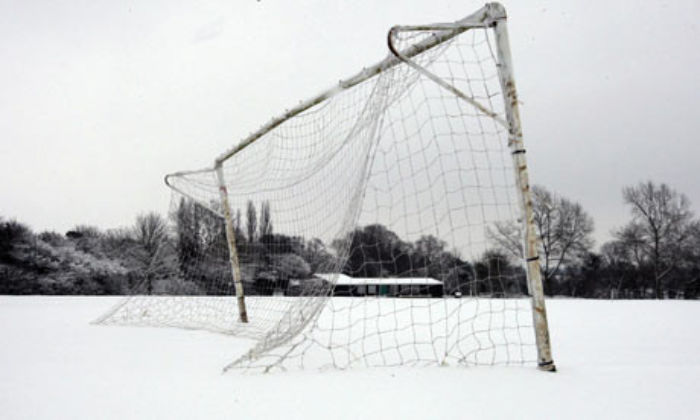Snow covered pitch